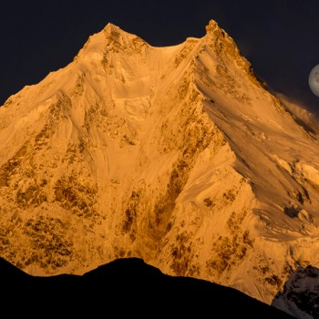 Glorious sunrise Manaslu view with moon